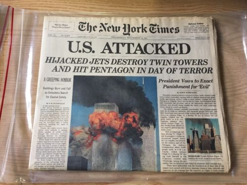 THE NEW YORK TIMES SEPTEMBER 12, 2001 9-11 WORLD TRADE CENTER LATE EDITION