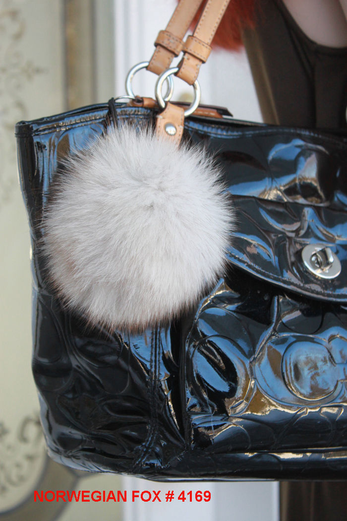 * NEW * Large NORWEGIAN FOX FUR Pompom * Made in Canada *