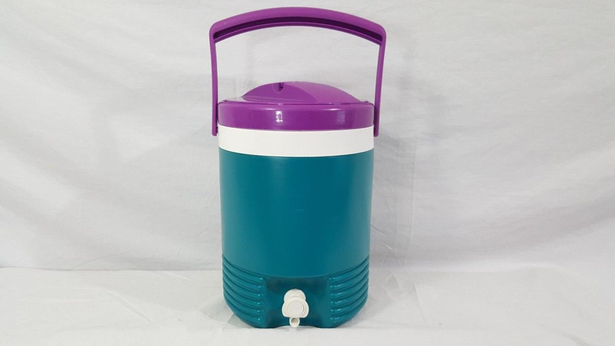 Vintage 1993 Igloo 2 Gallon Water Drink Cooler Camping Picnic Teal & Purple USA