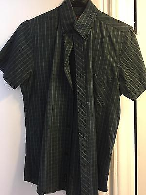 Ben Sherman Mens Green Plaid Button Down Shirt Small sz 1 sm mod Fred Perry