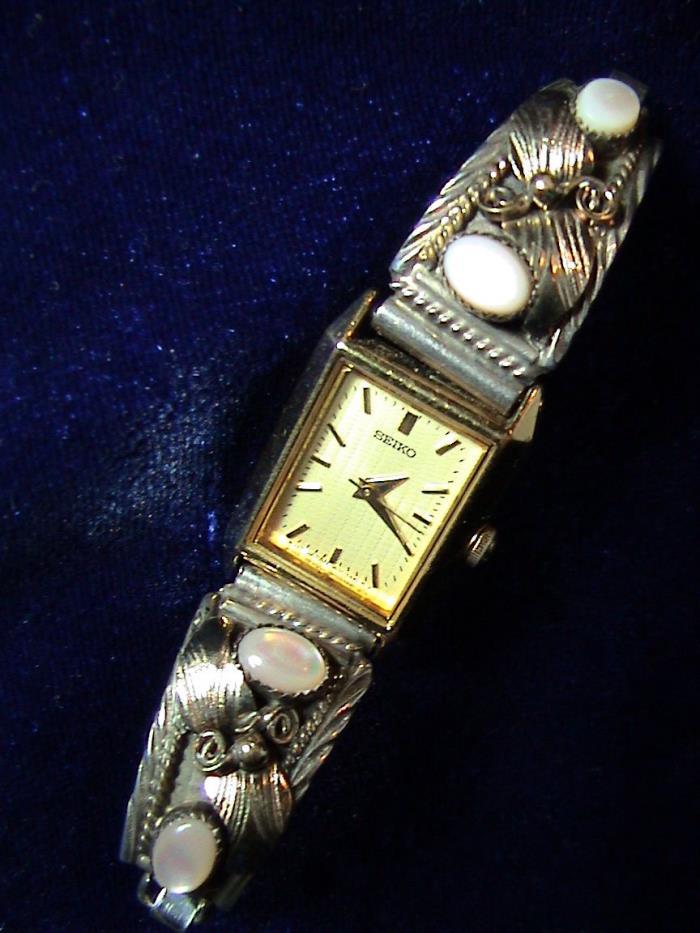 S. Ray Navajo Moonstones, Silver & Gold Seiko Speidel Watch Band Tips (286)
