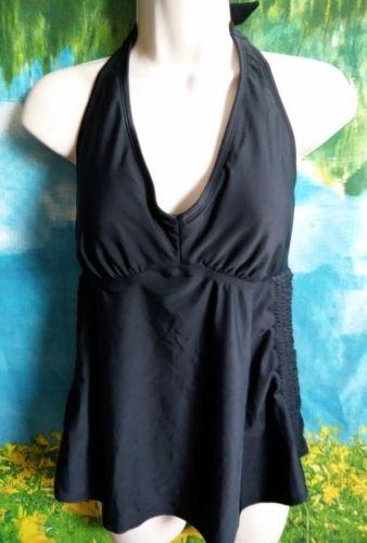 Liz Lange maternity* women's halter side ruched tankini top  sz S new