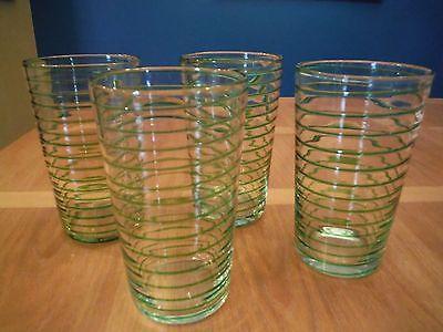 Green Swirl Tumblers Iced Tea Glasses Set of 4
