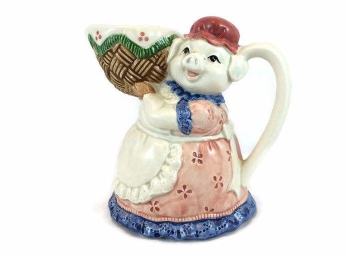 Otagiri Pig Creamer Carrying Basket Hand Painted Vintage Japan