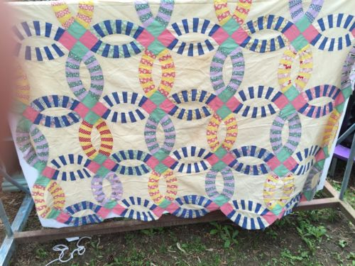 Vintage Feedsack Double Wedding Ring Quilt Top