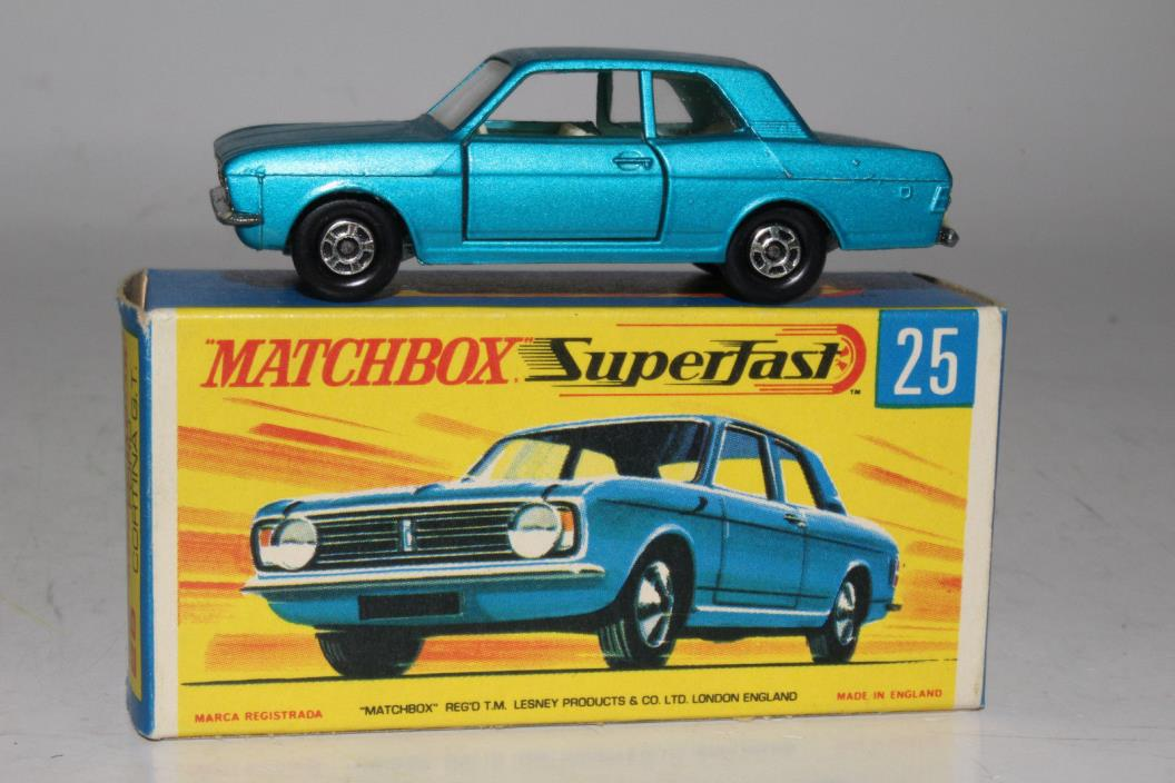 MATCHBOX SUPERFAST #25 FORD CORTINA GT, METALLIC BLUE, EXCELLENT, BOXED