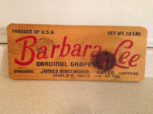 Vintage Barbara Lee Cardinal Grapes Wooden Sign, 13.5