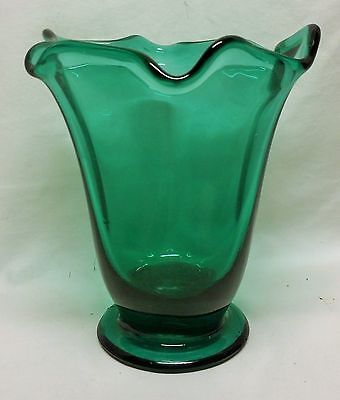 Vintage Green Glass mid century modern African Violet Planter home decor flowers
