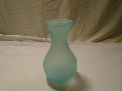 Viking Vintage Mid Century Frosted Blue Vase