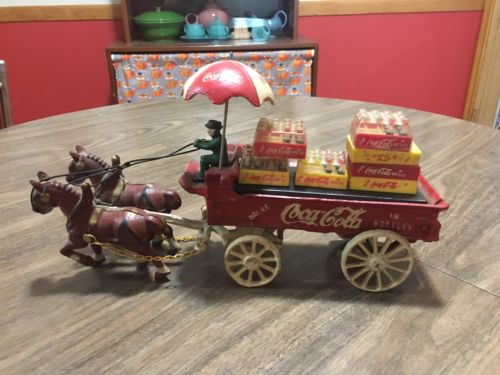 Vintage Coca Cola Cast Iron Horse And Buggy Cart Figurine Set Retro Antique