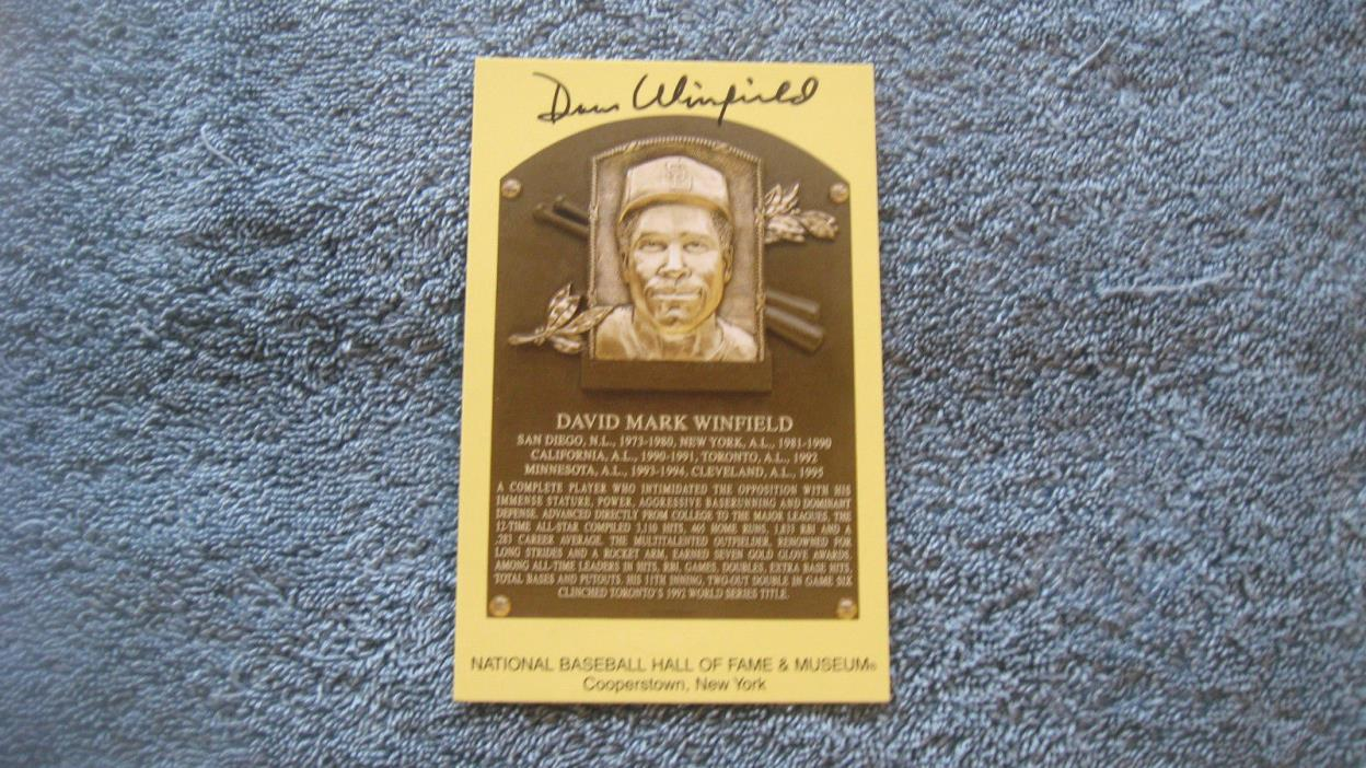 Autographed Dave Winfield gold baseball HOF Plaque postcard