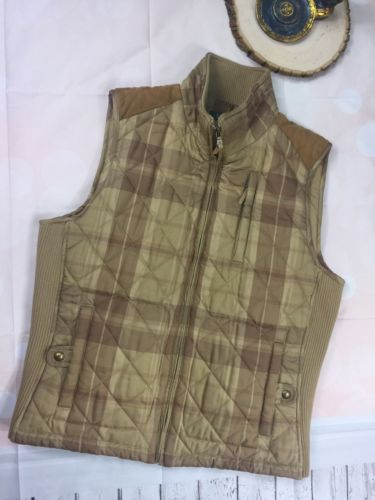 Lauren By Ralph Lauren Hiking Camping Vest Plaid Suede Brown Women's Size Large