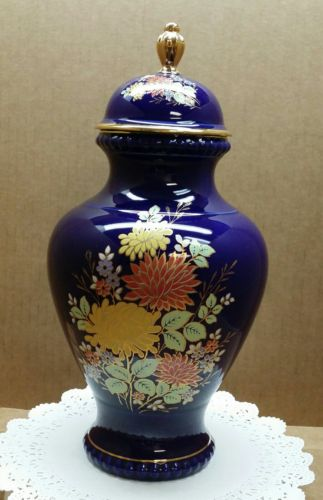 kueps German bavaria cobalt vase with lid