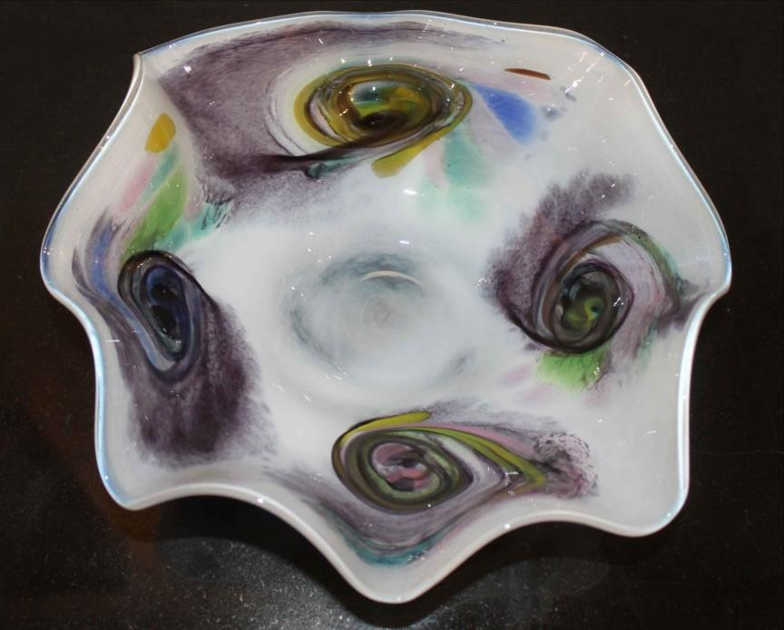 Hand Blown Art Glass Bowl stamped