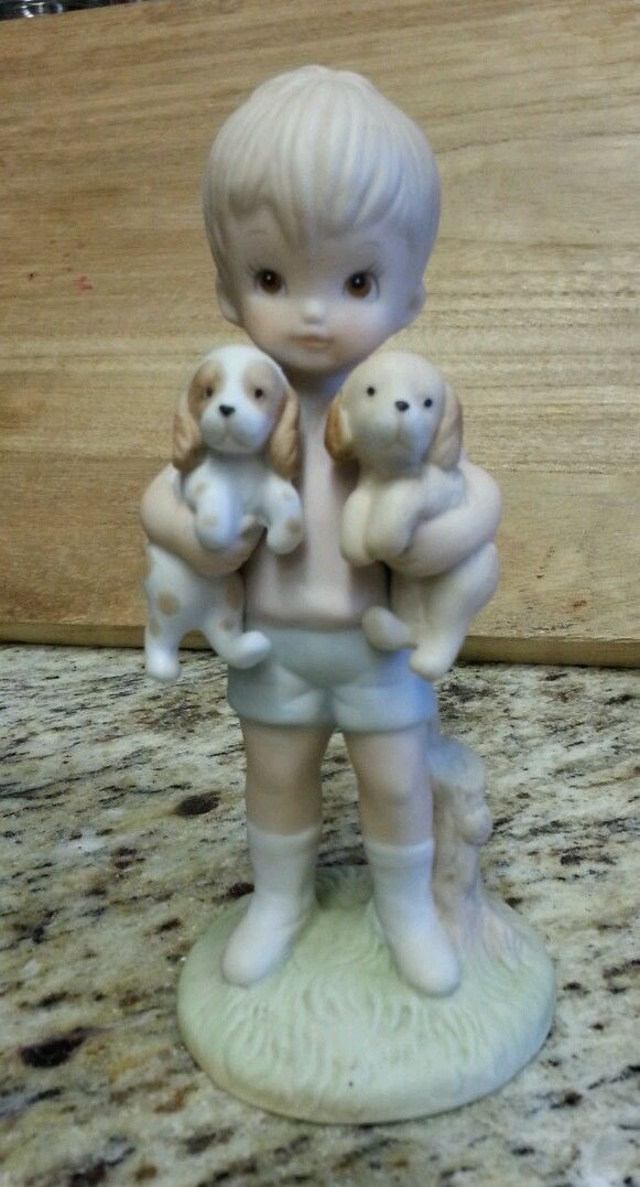 Vintage Lefton China # 03843 Ceramic Boy Holding Two Puppies Figurine Adorable