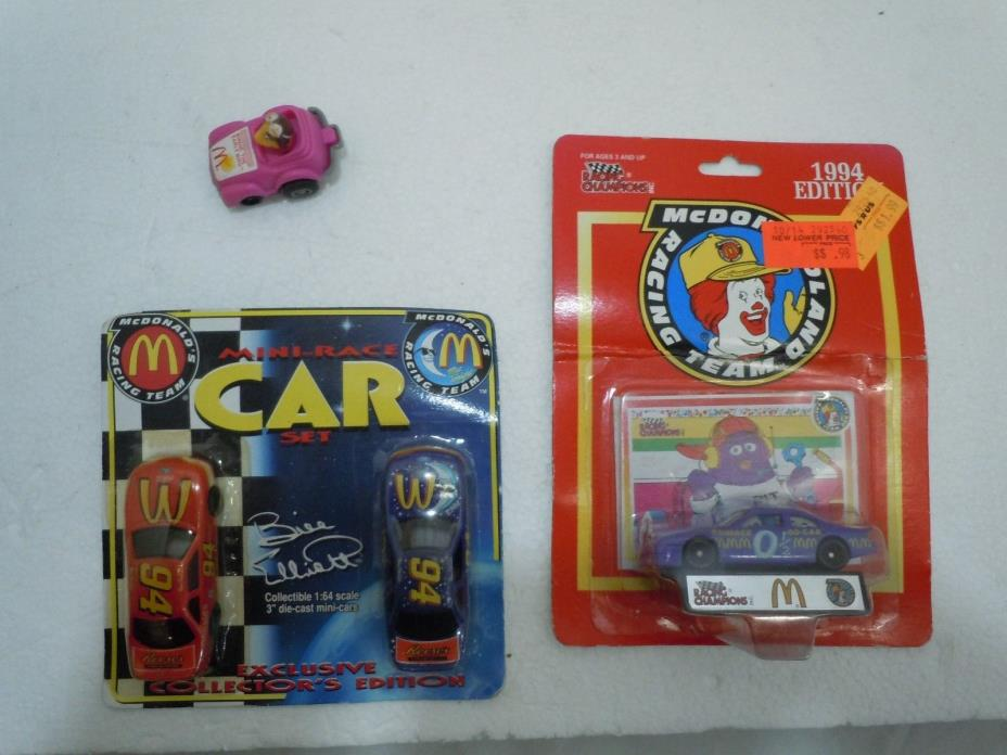 McDONALD'S RACING TEAM RACE CAR LOT Vtg MIP 1:64 Pull Back Racing Champions