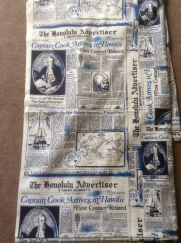 Vintage Cotton Fabric Hawaiian Honolulu Advertiser Newspaper 44