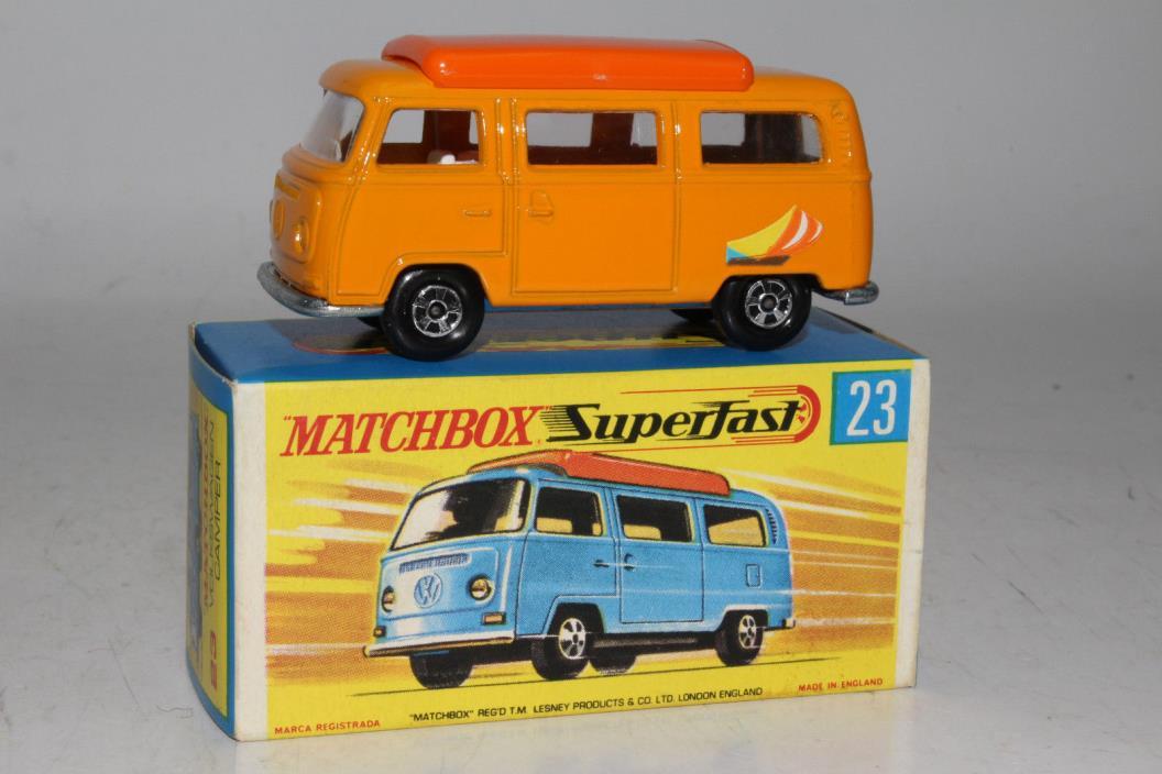 MATCHBOX SUPERFAST #23 VOLKSWAGEN VW CAMPER VAN, ORANGE W/ WHITE INTERIOR, BOXED