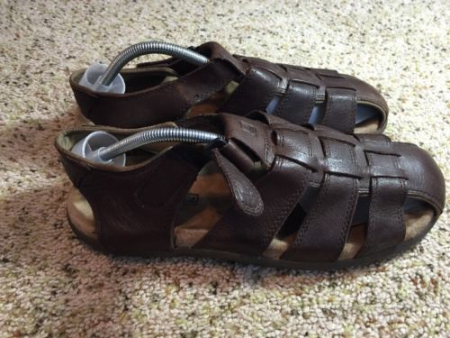 Sperry Top Sider Basketweave Sandal Men's Size 11m Brown Leather Ked