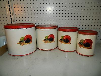 vintage Metal Canister set of 4 Red covers Black Tea Kettle Pot design