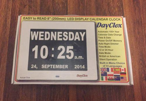 DayClox -Digital Calendar Day Clock /Dementia Clock -5 Cycle NEW