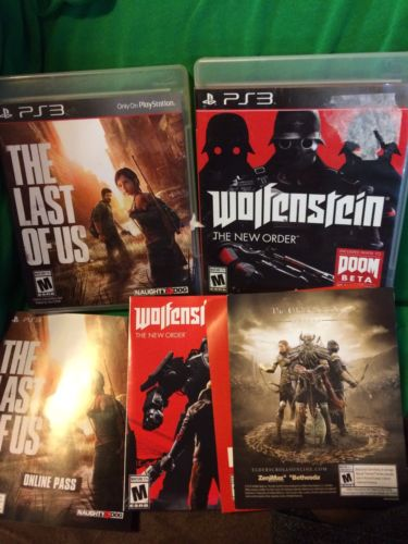 PS3 GAME LOT 2 COMPLETE THE LAST OF US WOLFENSTEIN THE NEW ORDER TESTED