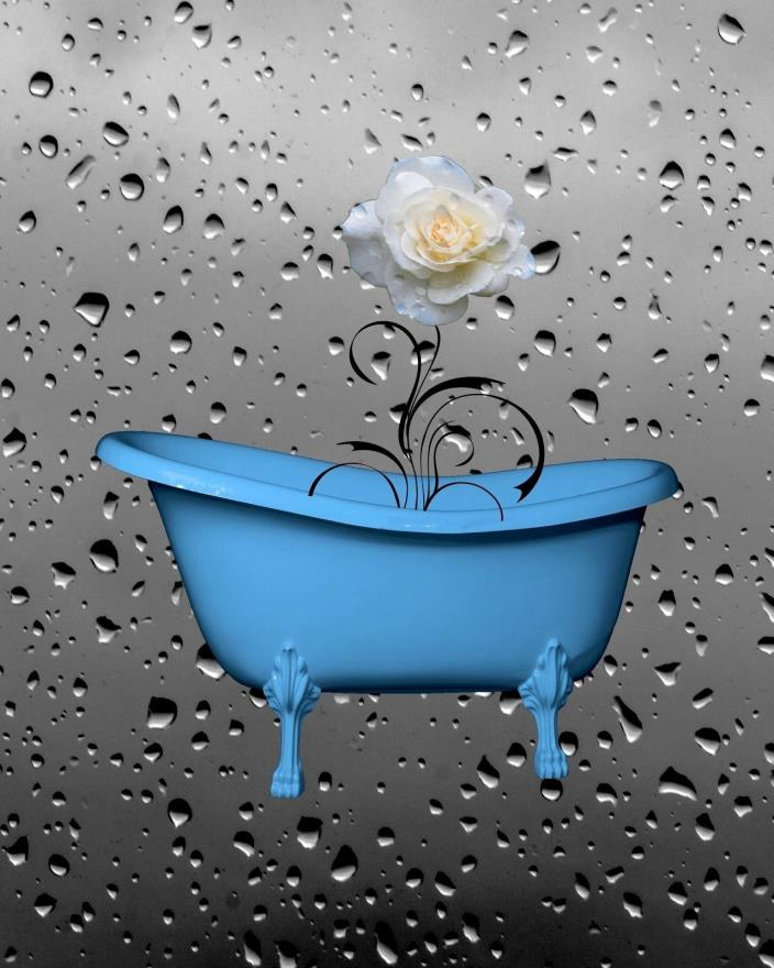 Blue Gray Bathroom Bedroom Decor, Rose Flower Raindrops Blue Home Decor Wall Art