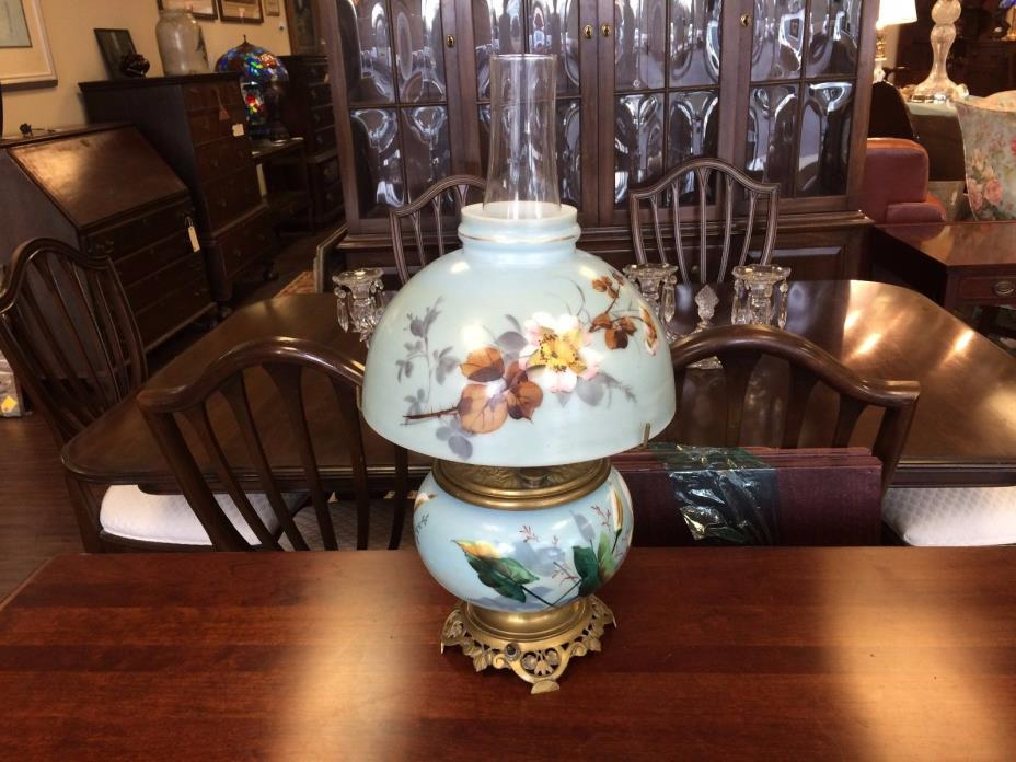 Early 1900s Hand Painted Blue Lamp