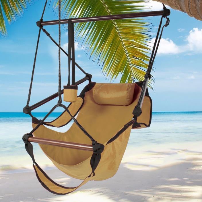 Hammock Hanging Chair Deluxe Indoor Outdoor Solid Wood Foot Rest Cup Holder