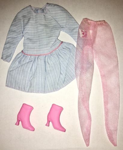 Barbie Fashion 80s Blue White Cotton Dress Stockings Pink Ankle Boots  Outfit