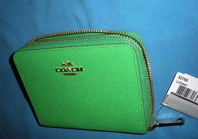 NEW Coach Crossgrain Medium Continental Zip Around Wallet.  Green #52766 NWT.