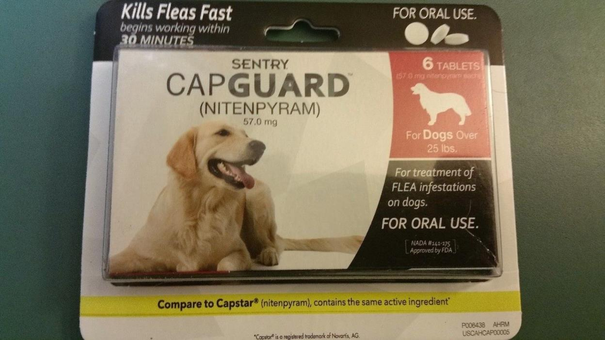 Sentry 6 Count CapGuard Flea Tablets for 25-Pound Dogs 25 lb New