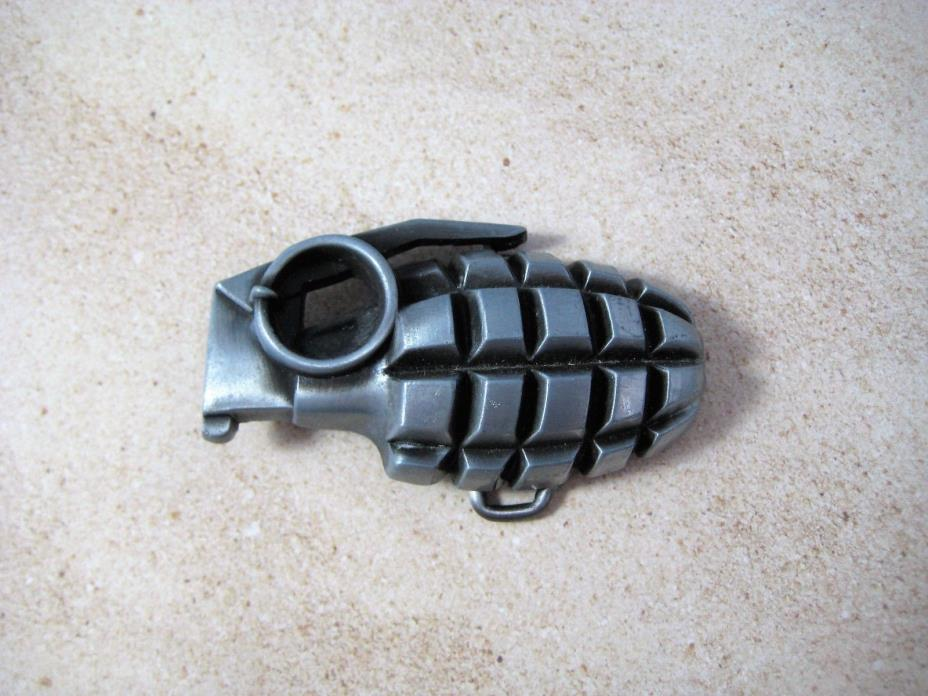 Grenade Belt Buckle Pewter and Brass