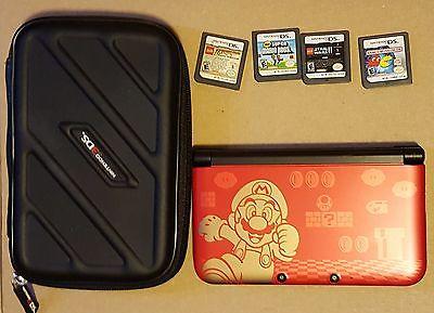 Nintendo 3DS XL Super Mario Bros. Edition Lot W Case 4 Games Pac-Man Star Wars