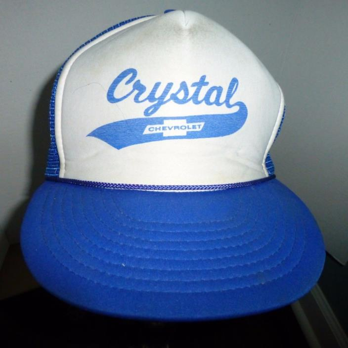 VINTAGE Crystal Chevrolet Trucker Hat Snapback Mesh Nissin Cap One Size 70s 80s