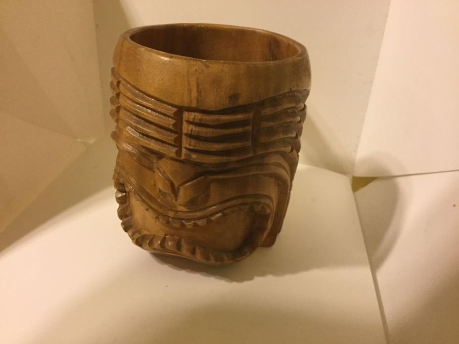 VIntage Hand Carved Hawaiian Wood Mug Cup with Tiki Mask Face