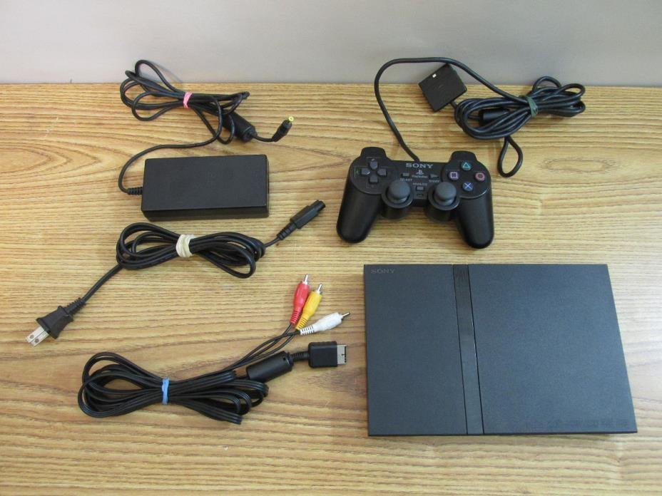 Sony PlayStation 2 Slim SCPH-70012 Console Power Cord AV Cable Controller