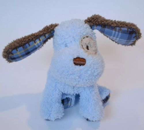 Carters Baby Plush Blue Plaid Patches Dog Plush Lovey