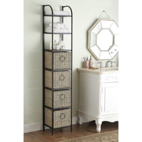 Windsor Black/Brown Metal/Slate/Wicker Bookcase With Baskets