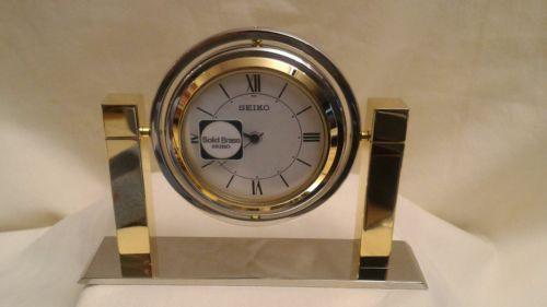 Seiko Brand New  Vintage Quartz Rotating Solid Brass Nickel PL Desk Clock QHG355