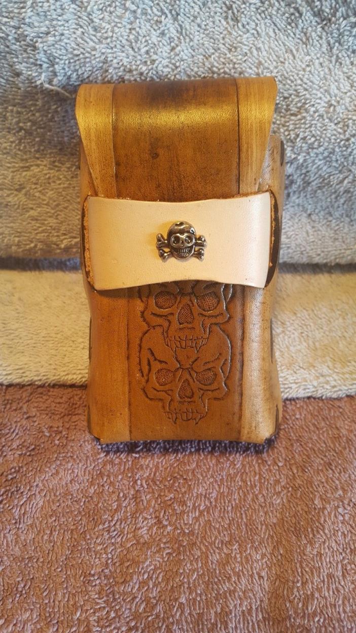 Cigarette Case Leather Handmade Skull