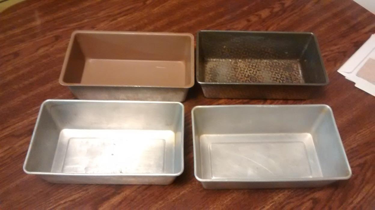4 Rectangle Loaf Pans Mixed Lot Aluminum 1 Bake King 22 Vintage Bakeware