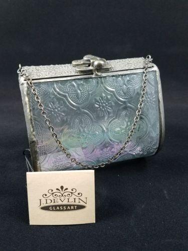 J Devlin Decorative Vintage Purse Glass Keepsake/storage/jewelry Box