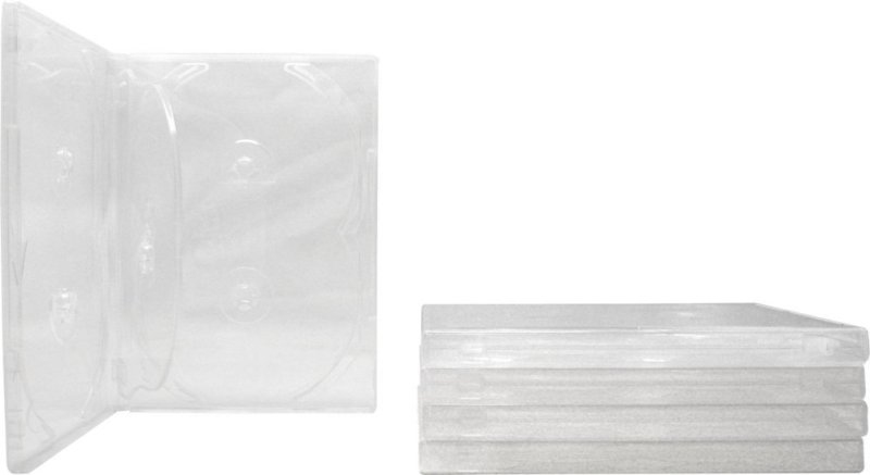 (5) 6-Disc Capacity Super Clear 14MM DVD Empty Replacement Cases with Wrap Aroun