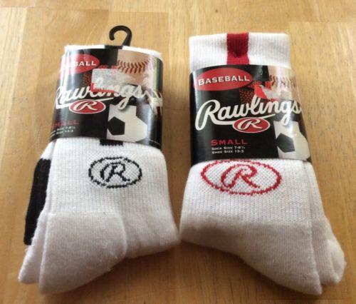Boys Rawlings White & Black & Red stripe baseball socks Size Small 2 New Pair