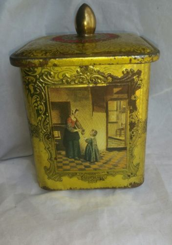 Vintage Holland Dutch Gold Color Square Decorative Tin Canister Pieter De Hooch