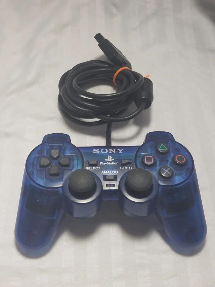Official Sony Playstation 2 PS2 Clear Ocean Blue Dualshock 2 Controller OEM