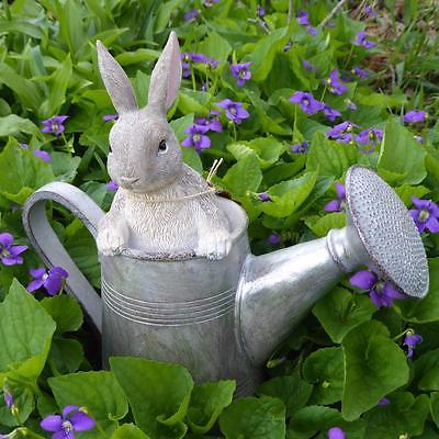 Bunny Rabbit in Watering Can Figurine Indoor Outdoor Home Garden Decoration NEW