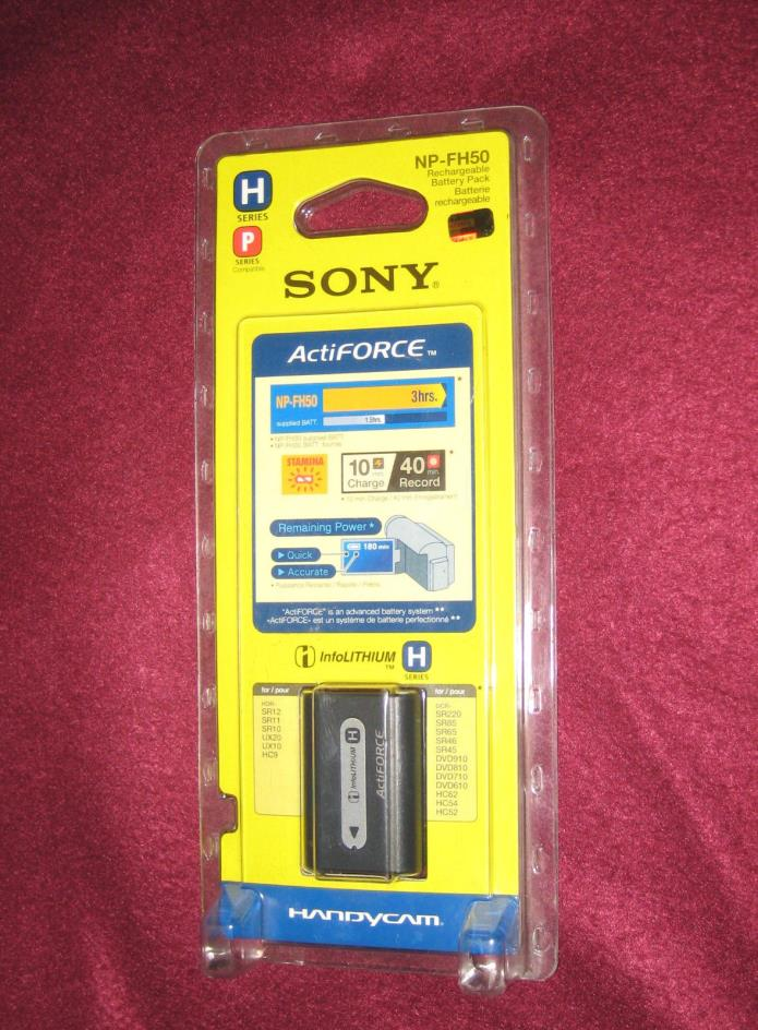 Sealed, Genuine Sony NP-FH50 Rechargeable InfoLithium Battery Pack [JAPAN]