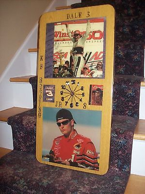 Vintage Dale Earnhardt and Dale Earnhardt Jr. Custom Made Clock KB Roofing